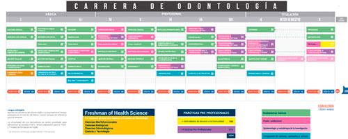 Malla de Estudios Carrera de Odontologia en Ecuador